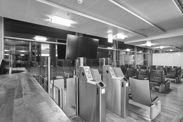 Airport boarding pass control area. Travel and tourism backgroun