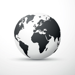 black earth globe world map design