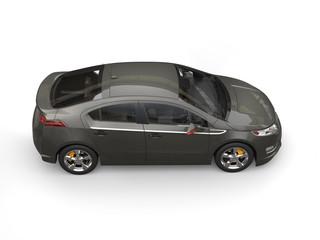 Metallic dark grey modern car - top side view