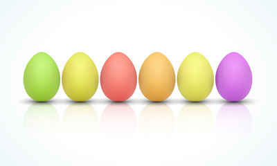 Happy Easter Celebration , Bright colored realistic vector easter eggs isolated on white background with shadow. Spring palette of colors. Vector illustration. EPS 10