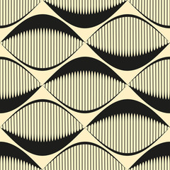A seamless retro Style Pattern with comb fish eyes in ivory and black