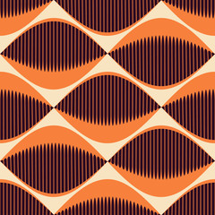 A seamless retro Style Pattern with comb fish eyes in orange shades