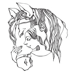 Girl and horse, hand-drawn illustration, vector