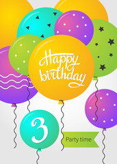 Happy Birthday card template with balloons. 3 years. Vector illustration