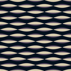 Seamless tile with wave pattern of combs in black and purple