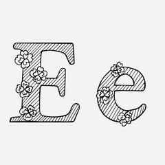 Letter Hand drawn sketched vector illustration.