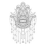 Hamsa Hand Vector Illustration Drawn Symbol Of Protection