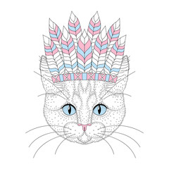 Cute cat portrait with war bonnet on head. Hand drawn kitty face
