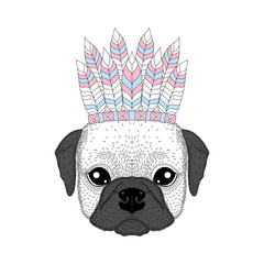 Cute french bulldog with war bonnet on head. Hand drawn dog face