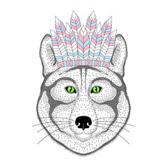 Cute wolf portrait with war bonnet on head. Hand drawn kitty fac