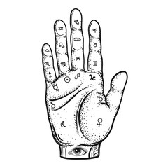 Fortune Teller Hand with Palmistry diagram, sketch with handdraw