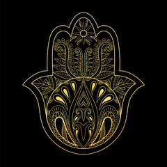 Golden Hamsa hand vector illustration. Hand drawn symbol of pray