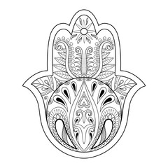 Hamsa hand vector illustration. Hand drawn symbol of prayer for