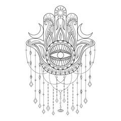 Hamsa hand vector illustration. Hand drawn symbol of protection