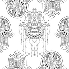 Hamsa hand seamless pattern, vector illustration. Hand drawn sym