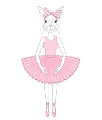 Vector cute bunny girl in dress like ballerina. Hand drawn anthr