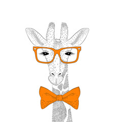 Vector cute giraffe face with glasses, bow tie. Fashion hand dra