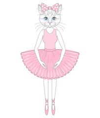 Vector cute cat in dress like ballerina. Hand drawn anthropomorp