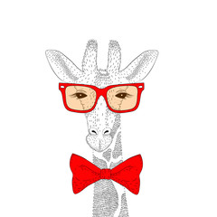 Vector cute giraffe face with sunglasses, bow tie. Fashion hand