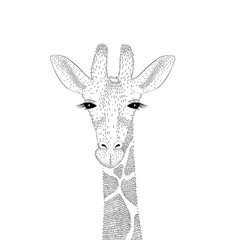 Vector cute giraffe portrait. Fashion hand drawn animal illustra