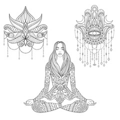 Woman sitting in lotus position, hamsa hand, flower tattoo desig