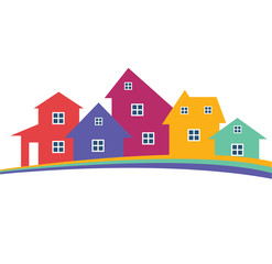 Houses or real estate on a a hill design has space for text on background. Vector image.