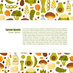 Vector illustration with cartoon source vegan protein background: broccoli, chia seeds, oats seeds, chickpeas, avocado, tofu, soy milk, spinach. Vector cartoon healthy diet icons. Healthy food concept