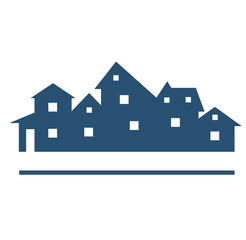 Houses or real estate has space for text on white background. Vector image.