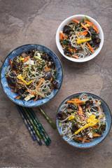 Japchae- Korean noodle salad with mixed vegetables