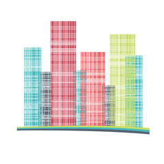 Building and City Illustration. Urban cityscape.  Houses silhouettes vector. Color residential buildings logo.