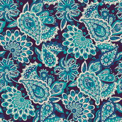 paisley ornament. Vector illustration in Asian textile style