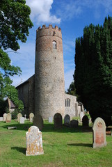 Witton round tower church, Norfolk, England