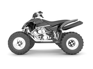 3d rendering black ATV isolated on white background.