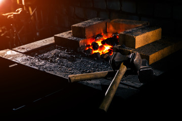 Forge fire   used for creating iron tools in blacksmith's.