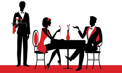Couple sitting at the restaurant - the chef waiter with drinks in his hand - silhouettes