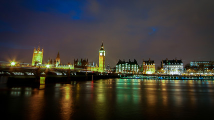 The Houses of Parliament and the River Thames, London