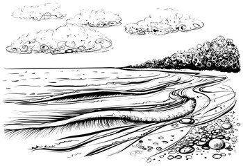 Sea beach with stormy waves and clouds. Black and white vector illustration.