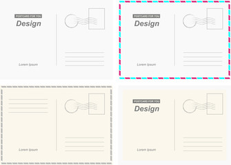 Set vector postcards. Postal card for travel. Template design for your cards.