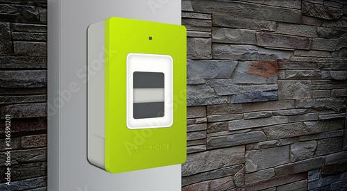 compteur lectrique digital communicant cpl sur mur de pierres linky stockfotos und. Black Bedroom Furniture Sets. Home Design Ideas