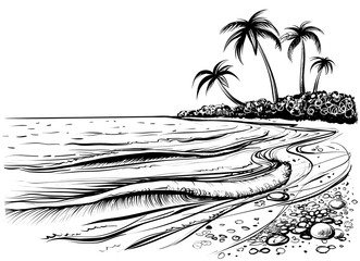 Ocean or sea beach with palms and waves, sketch. Black and white vector illustration.