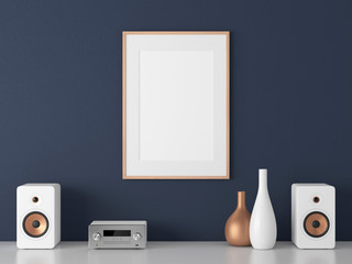 Poster with wooden Frame Mockup and Micro Component stereo System on white shelf, 3d rendering