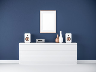 Poster Frame Mockup on bureau in modern interior, Micro hi fi stereo System, 3d rendering