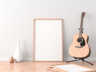 Poster Frame Mockup in modern interior with Acoustic Guitar near wall, 3d rendering