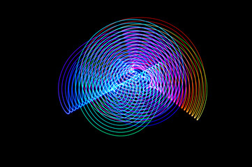 Light painting. Abstract, futuristic, colorful long exposure, bl