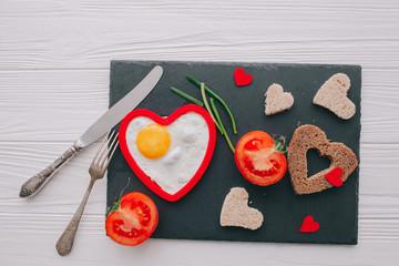 valentine day.romantic breakfast.fried egg