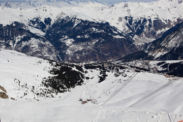 Beautiful panorama of Courchevel, French Alps