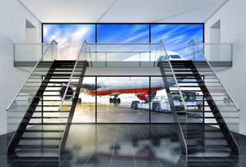 3D rendering of an airport background
