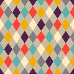 Abstract colorful mosaic. Seamless pattern of geometric shapes in vector