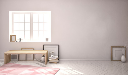 3d illustration. empty room in the loft.