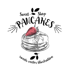 Hand drawn sketch pancakes and strawberry isolated on a white background with inscription around. Objects for design. French dessert. Cute pancakes with doodles. Sweets vector illustration.